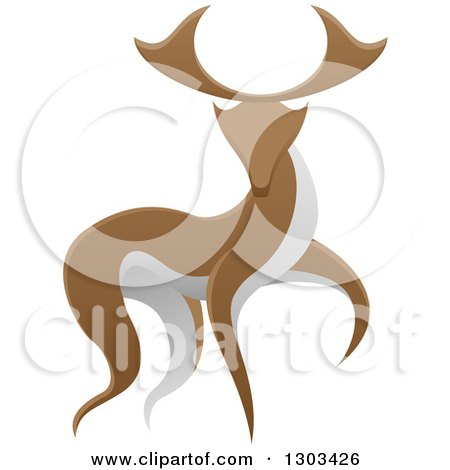 Clipart of a Walking Brown and White Stag Deer Buck - Royalty Free Vector Illustration by AtStockIllustration