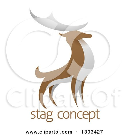 Clipart of a Standing Brown and White Stag Deer Buck over Sample Text - Royalty Free Vector Illustration by AtStockIllustration