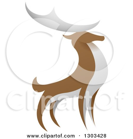 Clipart of a Standing Brown and White Stag Deer Buck - Royalty Free Vector Illustration by AtStockIllustration