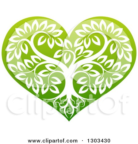 Clipart of a Tree with Roots and Leafy Branches Inside a Gradient Green Heart - Royalty Free Vector Illustration by AtStockIllustration