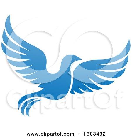 Clipart of a Flying Blue Bird - Royalty Free Vector Illustration by AtStockIllustration