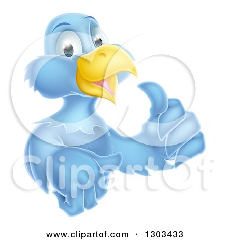 Clipart of a Happy Blue Bird Character Giving a Thumb up - Royalty Free Vector Illustration by AtStockIllustration