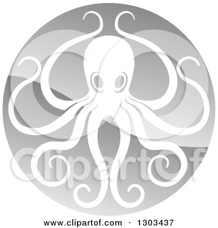 Clipart of a Shiny Silver Round Octopus Logo - Royalty Free Vector Illustration by AtStockIllustration