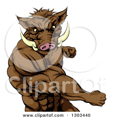 Clipart of a Muscular Fighting Boar Man Punching - Royalty Free Vector Illustration by AtStockIllustration
