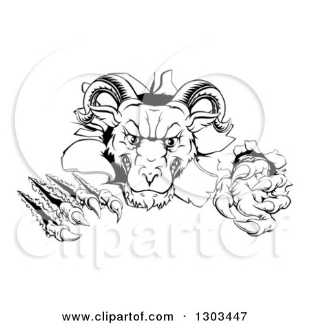 Clipart of a Black and White Vicious Ram Monster Clawing Through a Wall - Royalty Free Vector Illustration by AtStockIllustration