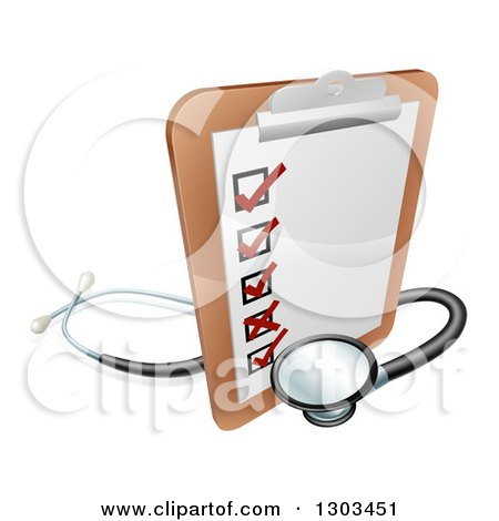 Clipart of a 3d Checklist on a Clip Board with a Stethoscope - Royalty Free Vector Illustration by AtStockIllustration