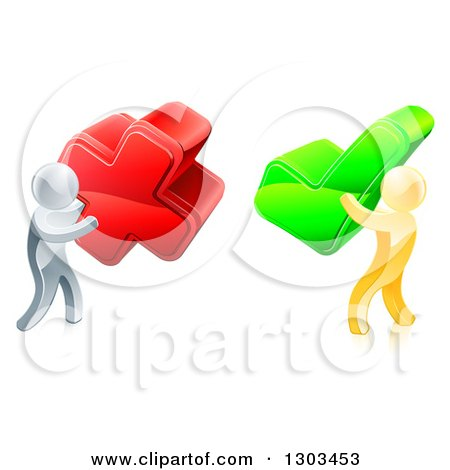 Clipart of 3d Right and Wrong Silver and Gold Men Carrying X and Check Marks - Royalty Free Vector Illustration by AtStockIllustration