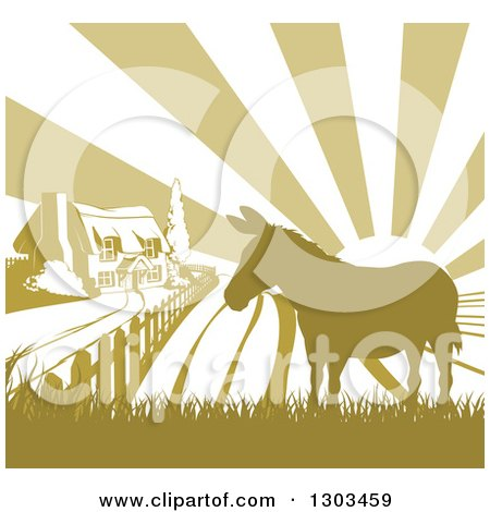 Clipart of a Cottage Farm House and Rolling Hills with a Silhouetted Donkey and Sun Rays in Green and White - Royalty Free Vector Illustration by AtStockIllustration