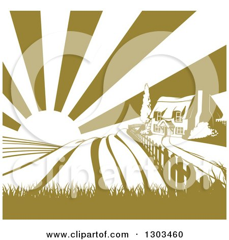 Clipart of a Cottage Farm House on a Hill with the Sunrise and Fields in Green and White - Royalty Free Vector Illustration by AtStockIllustration