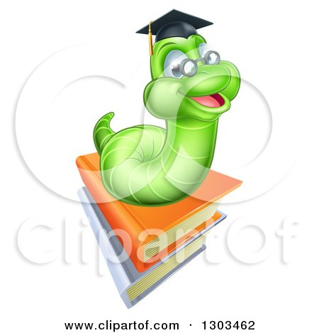 Clipart of a Happy Green Professor Earthworm on a Stack of Books - Royalty Free Vector Illustration by AtStockIllustration