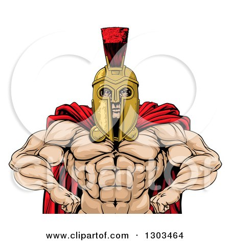 Clipart of a Muscular Spartan Warrior with a Bare Chest and Hands on His Hips - Royalty Free Vector Illustration by AtStockIllustration