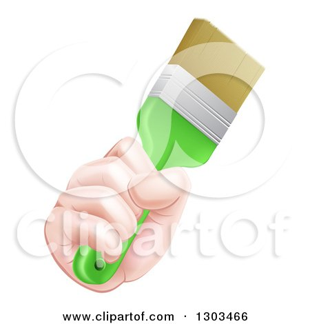 Clipart of a Caucasian Hand Holding a Lime Green Paint Brush - Royalty Free Vector Illustration by AtStockIllustration