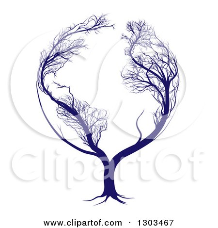 Clipart of a Blue Globe Tree with Bare Branches Forming the Continents of Earth - Royalty Free Vector Illustration by AtStockIllustration