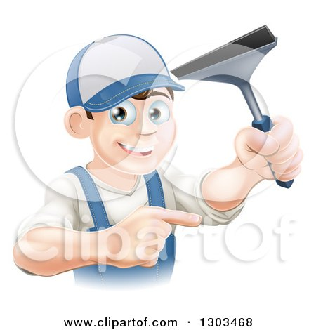Clipart of a Happy Young Brunette Caucasian Window Cleaner Man Holding a Squeegee and Pointing - Royalty Free Vector Illustration by AtStockIllustration