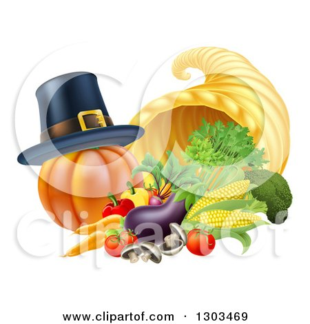 Clipart of a Pilgrim Hat on a Pumpkin by a Thanksgiving Horn of Plenty Cornucopia and Vegetables - Royalty Free Vector Illustration by AtStockIllustration