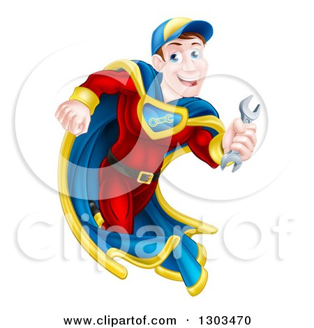 Clipart of a Happy Young White Male Super Hero Mechanic Running with a Wrench - Royalty Free Vector Illustration by AtStockIllustration