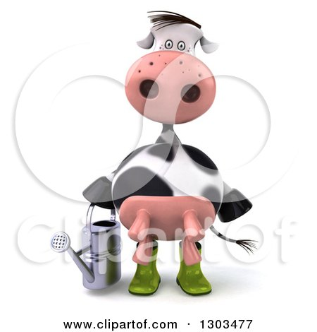 Clipart of a 3d Gardener Cow Holding a Watering Can - Royalty Free Illustration by Julos