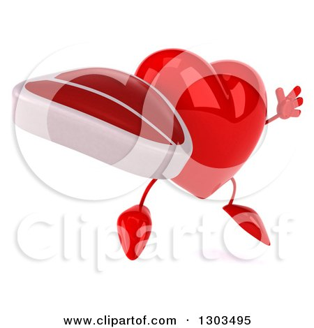 Clipart of a 3d Heart Character Facing Right, Jumping and Holding a Beef Steak - Royalty Free Illustration by Julos