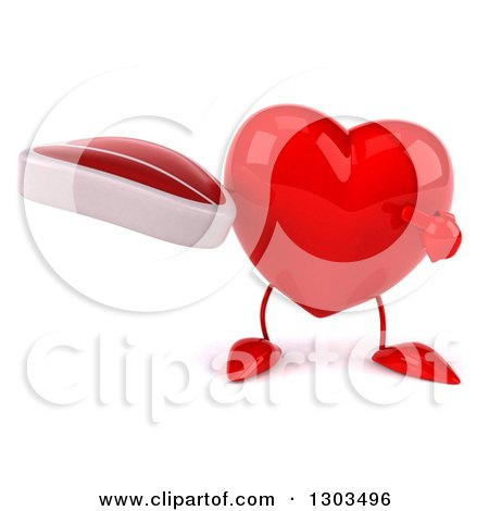 Clipart of a 3d Heart Character Holding and Pointing to a Beef Steak - Royalty Free Illustration by Julos