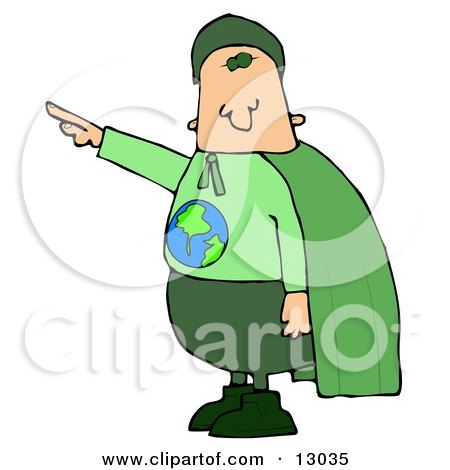 Environmentalist Man Wearing a Green Cape and Uniform With the Globe on His Shirt Clipart Illustration by djart