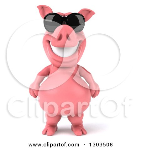 Clipart of a 3d Happy Pig Wearing Sunglasses and Standing Upright - Royalty Free Illustration by Julos