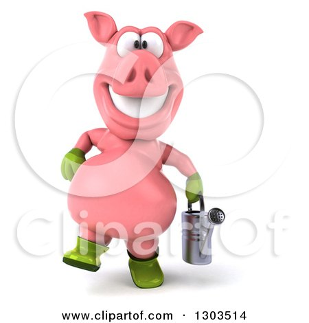 Clipart of a 3d Happy Gardener Pig Walking with a Watering Can - Royalty Free Illustration by Julos