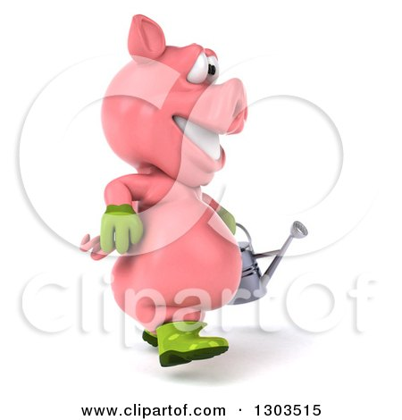 Clipart of a 3d Happy Gardener Pig Walking to the Right with a Watering Can - Royalty Free Illustration by Julos