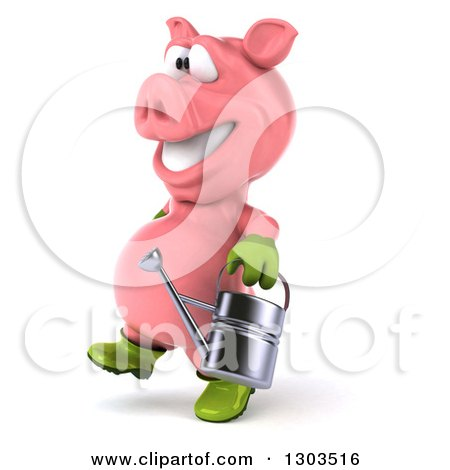 Clipart of a 3d Happy Gardener Pig Walking to the Left with a Watering Can - Royalty Free Illustration by Julos
