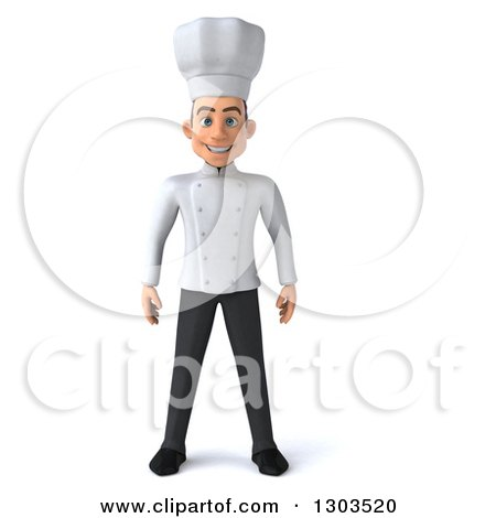 Clipart of a 3d Young White Male Chef - Royalty Free Illustration by Julos