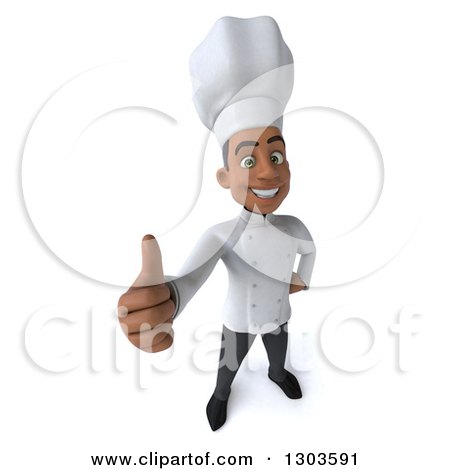 Clipart of a 3d Happy Young Black Male Chef Holding a Thumb up - Royalty Free Illustration by Julos