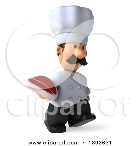 Clipart of a 3d Short White Male Chef with a Mustache, Walking Slightly to the Right and Holding a Beef Steak - Royalty Free Illustration by Julos