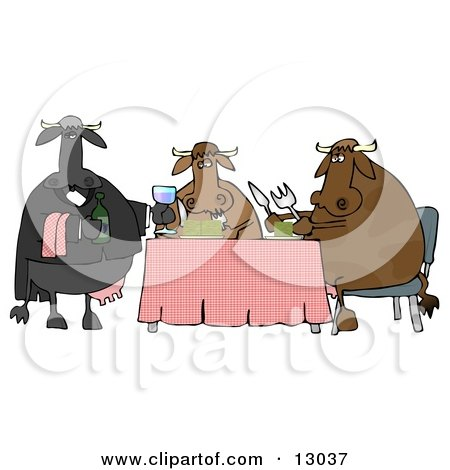 Male Cow Waiting Tables and Serving Wine to a Dining Cow Couple Clipart Illustration by djart