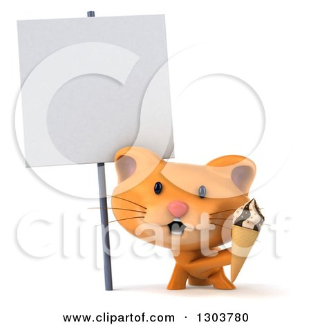 Clipart of a 3d Ginger Cat Holding a Waffle Ice Cream Cone Under a Blank Sign - Royalty Free Illustration by Julos