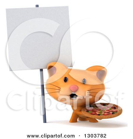 Clipart of a 3d Ginger Cat Holding a Pizza Under a Blank Sign - Royalty Free Illustration by Julos