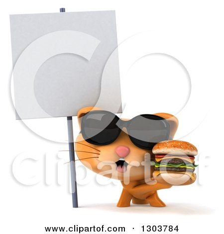 Clipart of a 3d Ginger Cat Wearing Sunglasses and Holding a Double Cheeseburger Under a Blank Sign - Royalty Free Illustration by Julos