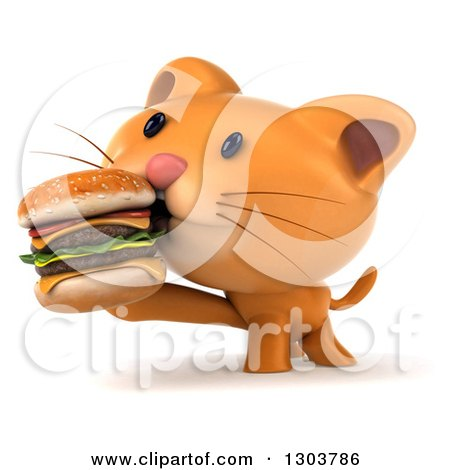 Clipart of a 3d Ginger Cat Eating a Double Cheeseburger - Royalty Free Illustration by Julos