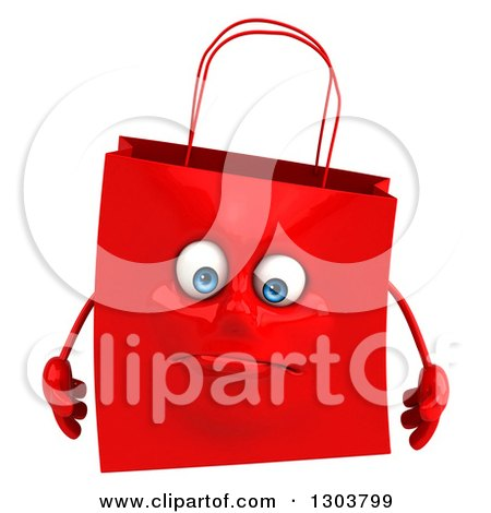 Clipart of a 3d Sad Red Shopping or Gift Bag Character - Royalty Free Illustration by Julos