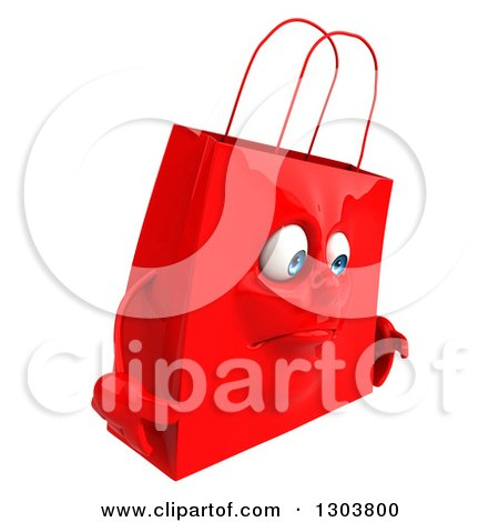 Clipart of a 3d Sad Red Shopping or Gift Bag Character Facing Right - Royalty Free Illustration by Julos