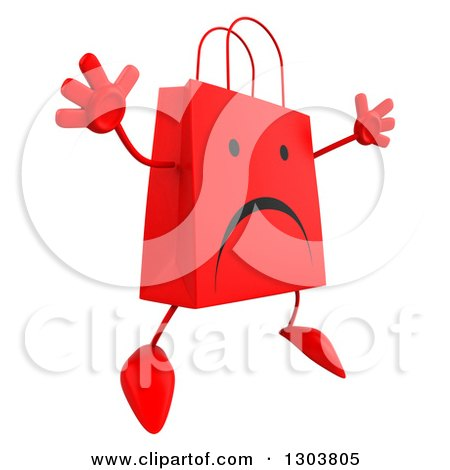 Clipart of a 3d Unhappy Red Shopping or Gift Bag Character Jumping - Royalty Free Illustration by Julos