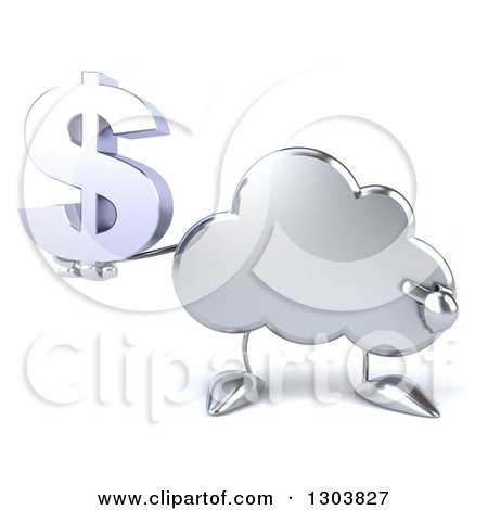 Clipart of a 3d Silver Cloud Character Holding and Pointing to a Dollar Symbol - Royalty Free Illustration by Julos