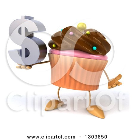 Clipart of a 3d Chocolate Frosted Cupcake Character Shrugging and Holding a Dollar Symbol - Royalty Free Illustration by Julos