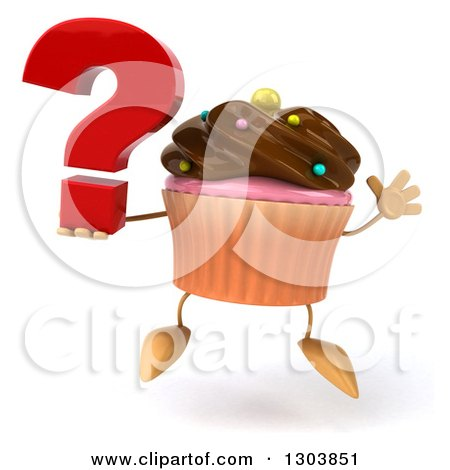 Clipart of a 3d Chocolate Frosted Cupcake Character Jumping and Holding a Question Mark - Royalty Free Illustration by Julos