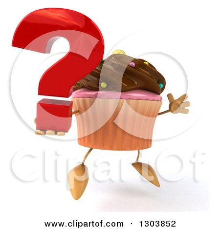 Clipart of a 3d Chocolate Frosted Cupcake Character Facing Slightly Right, Jumping and Holding a Question Mark - Royalty Free Illustration by Julos