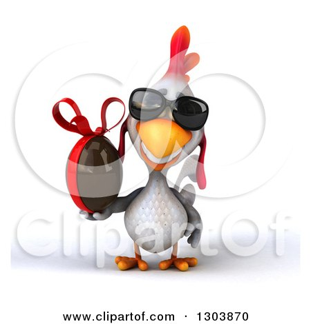 Clipart of a 3d White Chicken Wearing Sunglasses and Holding a Chocolate Easter Egg - Royalty Free Illustration by Julos
