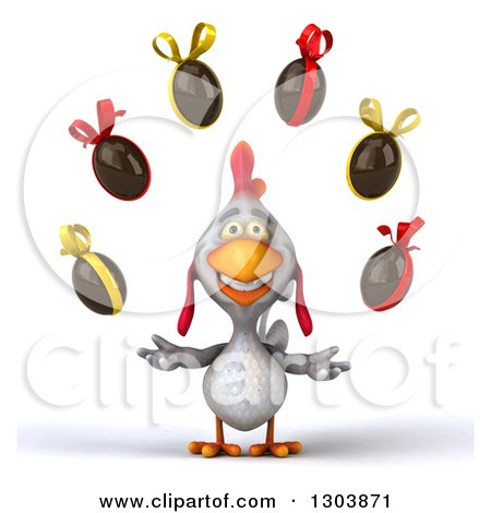 Clipart of a 3d White Chicken Juggling Chocolate Easter Eggs - Royalty Free Illustration by Julos