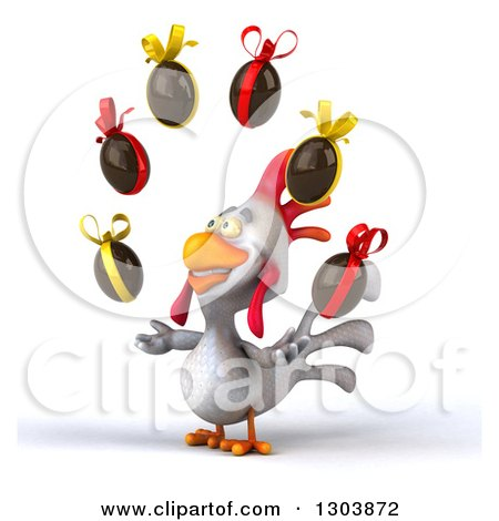 Clipart of a 3d White Chicken Facing Slightly Left and Juggling Chocolate Easter Eggs - Royalty Free Illustration by Julos