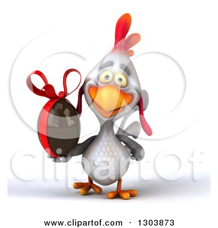 Clipart of a 3d White Chicken Walking and Holding a Chocolate Easter Egg - Royalty Free Illustration by Julos