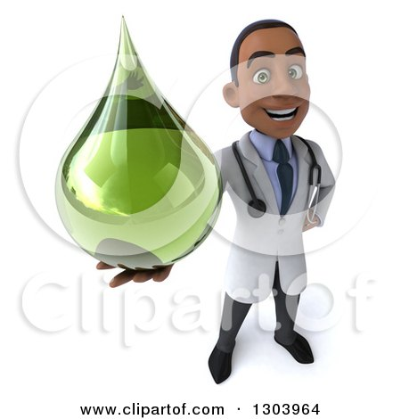 Clipart of a 3d Young Black Male Naturopathic Doctor Holding up a Green Medicine or Tincture Drop - Royalty Free Illustration by Julos