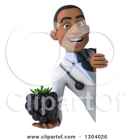 Clipart of a 3d Young Black Male Doctor Holding a Blackberry Around a Sign 2 - Royalty Free Illustration by Julos