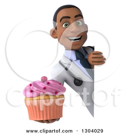 Clipart of a 3d Happy Young Black Male Doctor Holding a Pink Frosted Cupcake Around a Sign - Royalty Free Illustration by Julos
